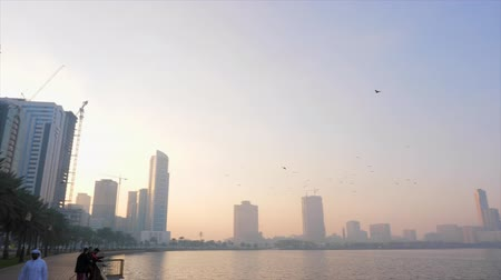 mussulman : Sharjah, United Arab Emirates - January 18, 2018. Quay at Al Buheirah Corniche near Khalid lake. Foggy morning. Arabian man in thawb. Arab man walks through quay along the sea at morning. Stock Footage