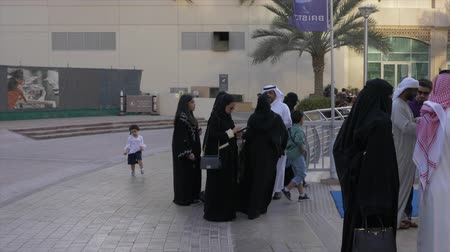luxo : Dubai, UAE - January 11, 2018: arab people standing in queue line at ticket office to buy tickets for boat trip on ship or luxury yacht on Dubai Marina UAE. Stock Footage