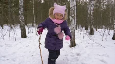 vigyorgó : Little girl runs along path in winter forest. Girl overcomes obstacles. Girl with a stick in hand fall rise and walk. Stock mozgókép