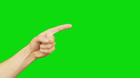 índice : Male left hand with index finger point on green screen background. Alpha channel, keyed green screen. Vídeos