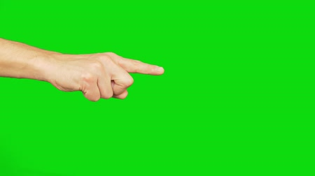 выбирать : Right hand with index finger point on chroma key background. Alpha channel