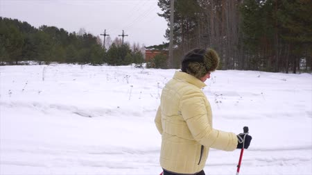 aerobic : Woman nordic walking, healthy lifestylel. Trekking and hiking on winter landscape. Wideo