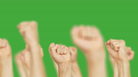 восстание : Crowd people raising up clenched fist up on green chroma key background. Men moving up hand fists isolated on chroma key background. Alpha channel, keyed green screen.