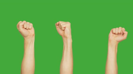 zmiany : Set of 9 different hands raising up clenched fist on empty green background. Alpha channel, keyed green screen. Wideo