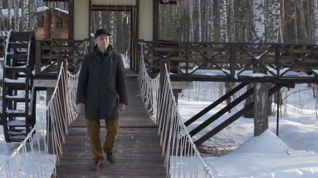 arka görünüm : Handsome man walking on decorative bridge in winter city park slow motion