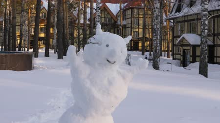 спокойные сцены : Snowman in winter cottage village close up. Christmas snowman