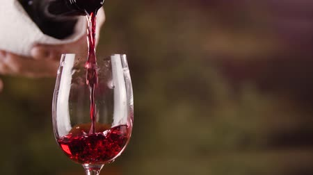 winogrona : Close up male hand pouring red wine in glass from bottle slow motion
