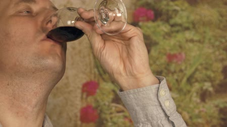 şarap kadehi : Adult man sommelier looking on red wine in glass before tasting close up Stok Video