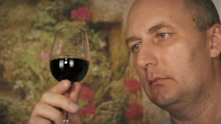 şarap kadehi : Middle aged tester with glass of red wine Stok Video