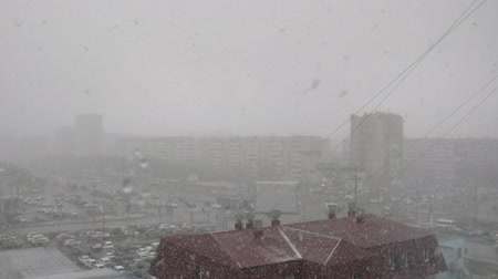 janeiro : Blizzard and cold winter weather in frozen city, panoramic view