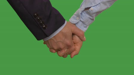 партнеры : Business couple holding hands in lock. Alpha channel, keyed green screen