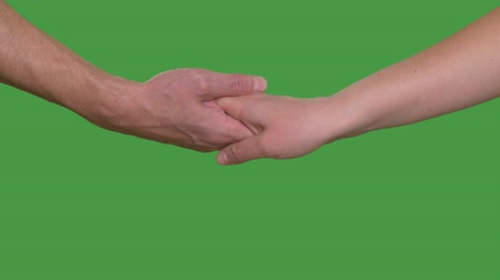 партнеры : Woman puting palm upper mans hand. Tender couple shaking hands, chroma key