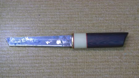 samuraj : Sharp steel traditional japanese short sword with light reflection