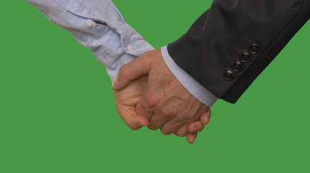 tenso : Man hand holding female hand close up isolated on green background. Alpha channel, keyed green screen Vídeos