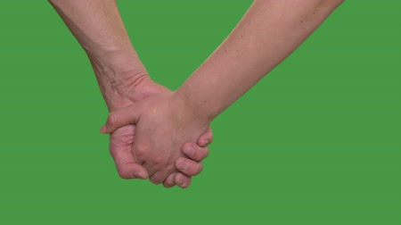 tenso : Male hand holding female hand isolated on green background close up Alpha channel, keyed green screen