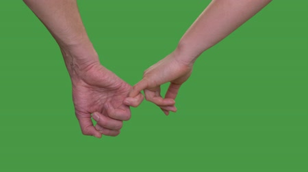 tenso : Male hand holding female hand on little finger on green background close up Alpha channel, keyed green screen Vídeos
