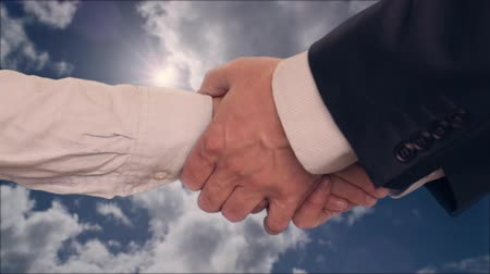 shaking hand : Businessman shaking hands with businesswoman with two hands with cloudy sky on background