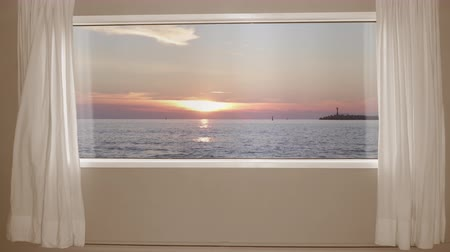 drapes : Beautiful sunset on the sea view outside the window with curtains. Background Plate, Chroma Key Video Background