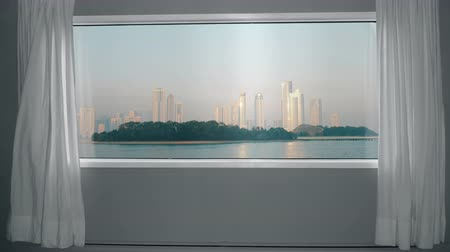 window room : View from the window to metropolis with skyscrapers and park. Background Plate, Chroma Key Video Background Stock Footage