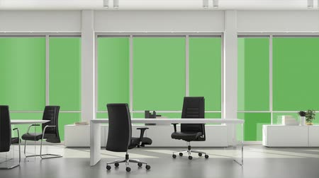 sem nuvens : Window in business office with view outside for using any background. Background plate, chroma key video background. Alpha channel, keyed green screen