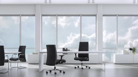 sem nuvens : View from window in business office in skyskraper on cloudy sky. Background plate, chroma key video background. Vídeos