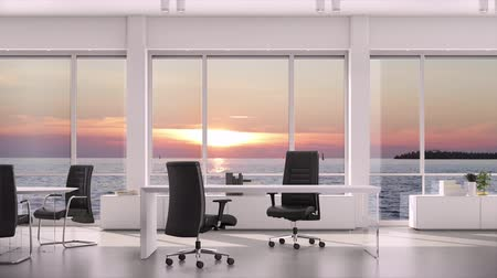 sem nuvens : View from window in business office on evening sunset on sea water. Background plate, chroma key video background.