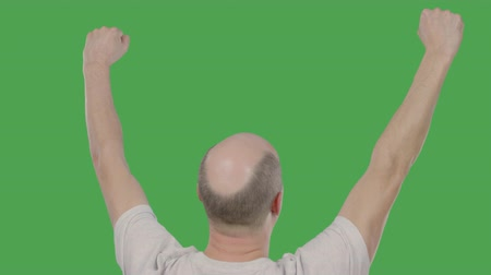 tenso : Successful bald man celebrating with hands up on keyed green screen. Alpha channel