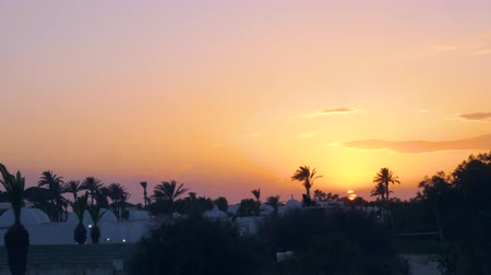 tunisia : Timelapse of sunset landscape with traditional arabian architecture Stock Footage