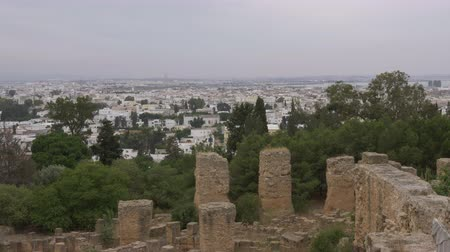 národní památka : View from above on modern in Carthage Tunisia. Beautiful city landscape. Locked shot