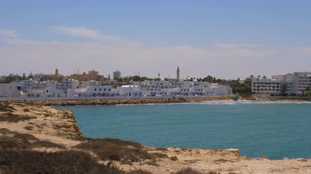 tunisia : Panoramic view blue sea and Monastir city. Coastline of sea in arabian city.