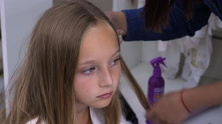 vidět : Hairdresser combing blonde hair and making hairstyle for child Dostupné videozáznamy