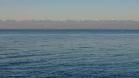 kul : Panoramic view lake Issyk Kul on background mountain peaks