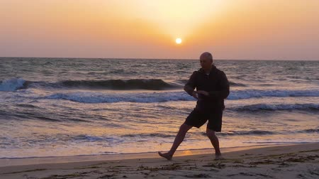 fegyelem : Man training Tai Chi chuan while evening sunset at sea shore Stock mozgókép
