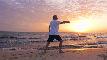 yin and yang : Man training martial art Taijiquan on sea beach and evening sunset landscape Stock Footage