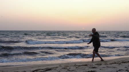 yin and yang : Sportive man practicing wushu on seashore at sunrise Stock Footage
