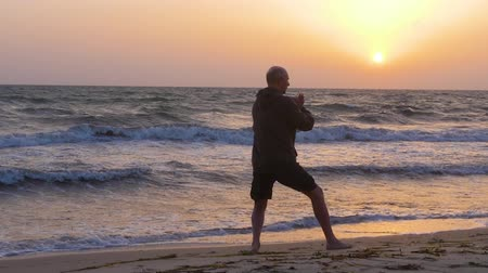 yin and yang : Athletic man pushing hands while practicing wushu on beach in the morning Stock Footage
