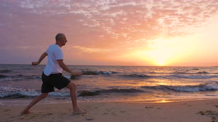 targi : Athletic man practicing asian martial arts Tai Chi at sunset over the sea