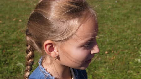 pigtailler : Profile face young girl with braid hair smiles and talks, high angle view