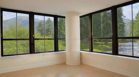dizgi : Beautiful view on flowing river in green summer forest from window empty room
