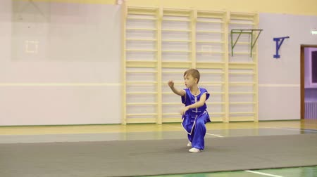 supremo : Young boy in traditional blue yifu clothes for tai chi training nanquan exercise in sport club. Boy teenager practising Chinese martial art Wushu while workout. Chinese martial art tai chi concept Vídeos