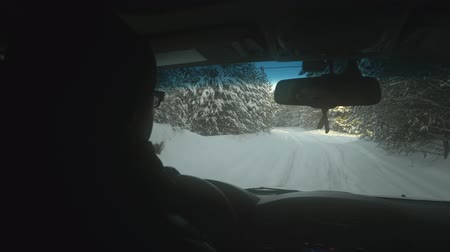 řídit : Couple riding in a SUV car through a snowy forest. Male driver and female passenger driving through the winter forest. Traveling concept POV passenger