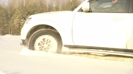 folga : White SUV on snowy off road. Man driving with family inside big white SUV in winter forest off road among snowy pine trees. Travel concept