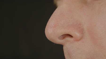 snoot : Mens nose, profile close-up. Smell concept