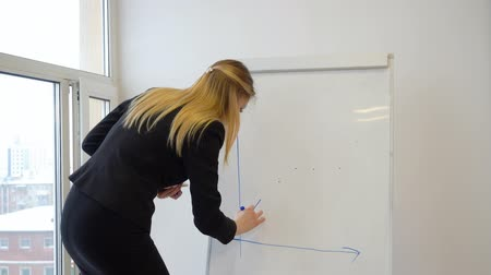 yöneticiler : Young woman drawing chart on white flipchart while business meeting in office. Woman manager showing financial results on graph on business presentation. Business meeting concept