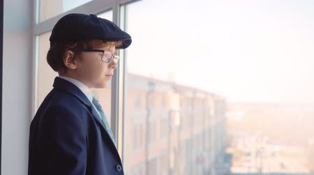 pet : Young boy in business suit, tie and cap looks out from window in business office. Serious boy like businessman in eyeglasses on office window background Stockvideo
