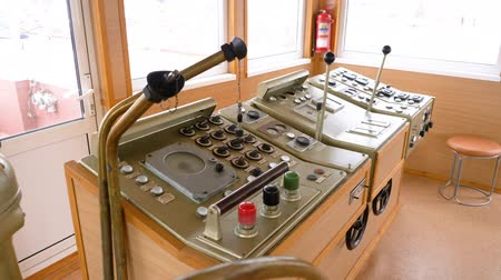 lever : Navigation Bridge Steering Wheel Ship Control. View of Sailing Master or Captain Communication Navigator Room. Cargo Vessel Boat Equipment Center. Operating Cabin Panel Dashboard on Marine Transport