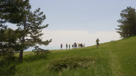 alpes : Tourist group trekking on green highlands while summer trip. Traveling people walking on green hill. Climbing in mountain at summer activity. Travel concept