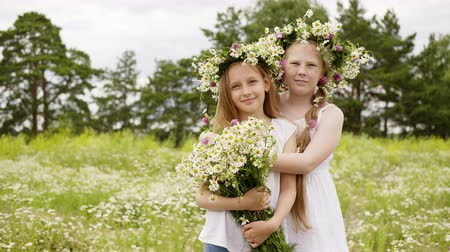 kamilla : Two beautiful girls in white summer dresses with wild flowers and daisy chains on heads. Child girls walking on daisy meadow itching from insects and scratch body. They stand ready for take a photo.