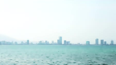 účinky : Skyscrapers silhouette in fog and sea blurred background for video transitions. Misty haze over sea and city skyscrapers on horizon. Background for composing video footage Dostupné videozáznamy