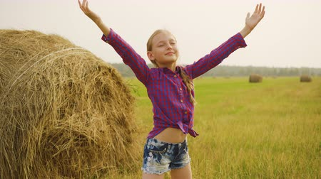 hay pile : Happy girl stretching hand to sky on hay stack background. Teenager girl raising hands enjoying nature on harvesting field in countryside Stock Footage